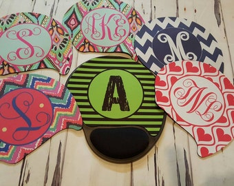 Monogram Mouse Pad/Mousepad with Gel Pad, Wrist Rest/Personalized Mouse Pad/Custom Mouse Pad/ Office Gift/ Gift