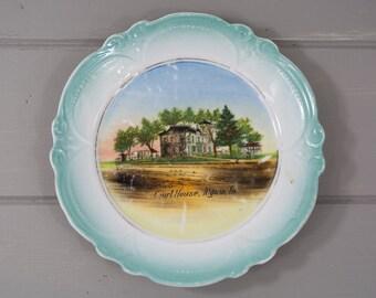 "Antique Decorative Teal 5.75"" Scalloped Edge Collectible Plate Court House Algona, Iowa, Iowa Souvenir, Old Architecture, Antique Wall Decor"
