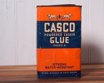Vintage Urban Decor Casco Glue Can, Powdered Casein Grade A Glue Container, Powdered Glue Tin, Industrial Decor, Industrial Tin