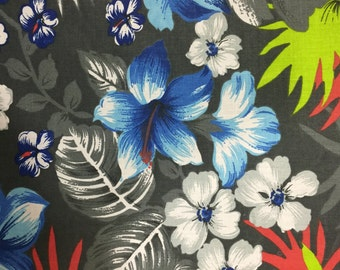 Charcoal Hawaiian Print Poly Cotton Print Fabric - Sold By The Yard -  59""