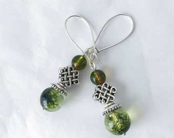 Dangling green phantom quartz earrings handmade with silver wire and tibetan silver beads