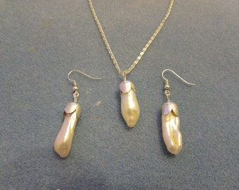 Keishi pearl necklace and earrings