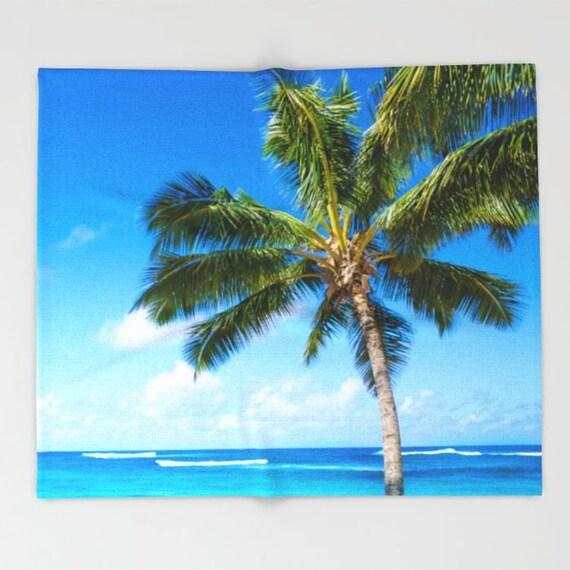 Hawaiian Beach Blanket: Beach Fleece Blanket Palm Tree Ocean Hawaii