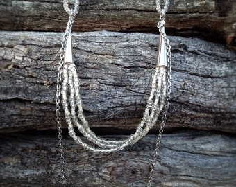 Long bead necklace, multi strand tribal boho necklace, clear beads
