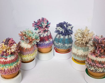 Egg Cosies set of 6 brightly colored egg cosies, hand knitted, Easter Egg Cosy, egg warmers