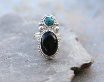 Turquoise and Onyx ring, turquoise ring, onyx ring, big turquoise ring, big onyx ring, double stone ring, multi stone ring