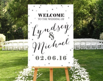 Printable  Wedding Sign, Party Sign Custom, Large Custom Sign, Silver Wedding Sign, Party Sign, Printable Poster, Calligraphy, DIGITAL