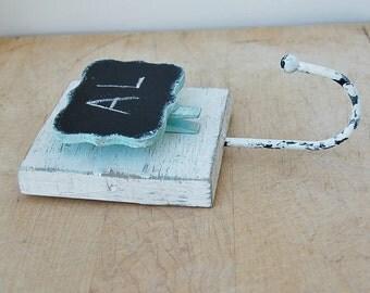 Chalkboard Wall Hook Hanger White Turquoise