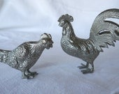 Vintage Silver metal Rooster and Chicken Ornament, Table Decoration,