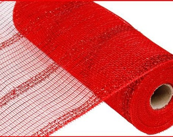 "10.5""X10yd Red Wide Tinsel/Pp/Foil Deco Mesh/Wreath Supplies/RY840124"