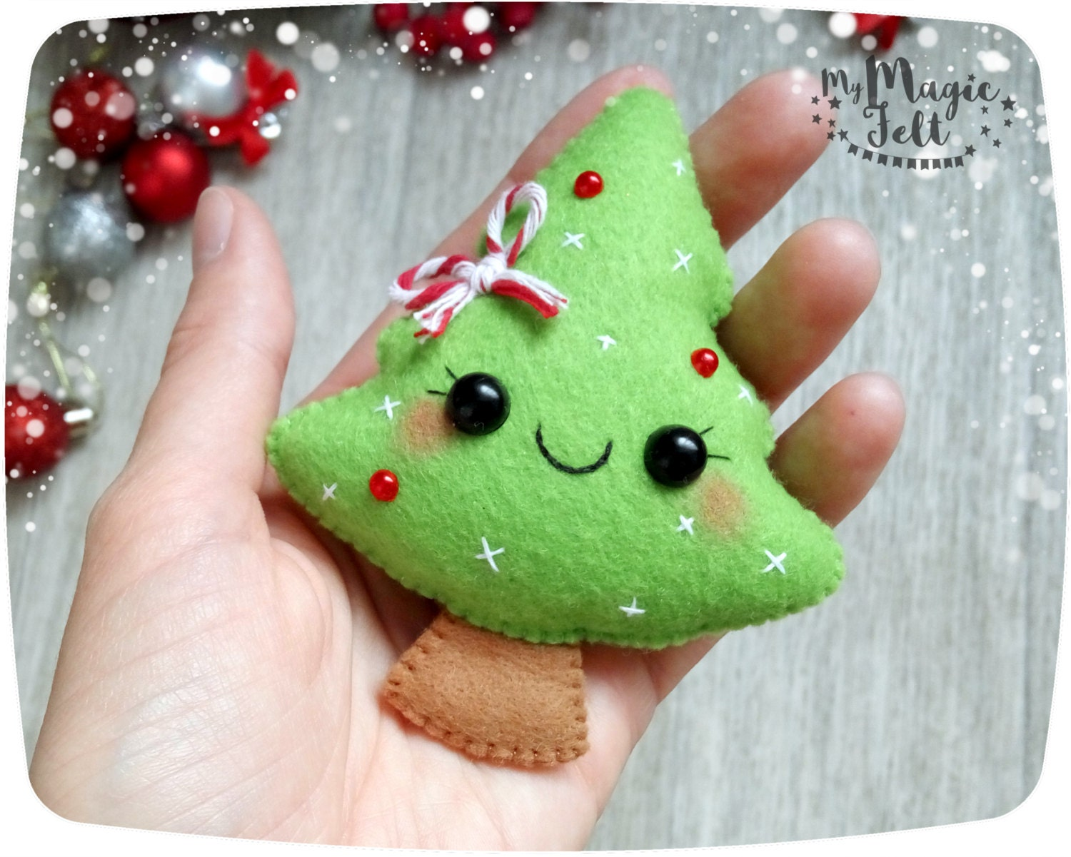 Christmas felt ornaments -  Christmas Decorations Tree Ornament Felt Tree Zoom