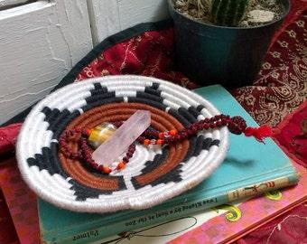 Vintage 1960s Woven Coil Southwestern Native Print Bowl Handmade Woven Tribal Pattern Bowl Jewelry Storage Home Decor Vintage Native Bowl
