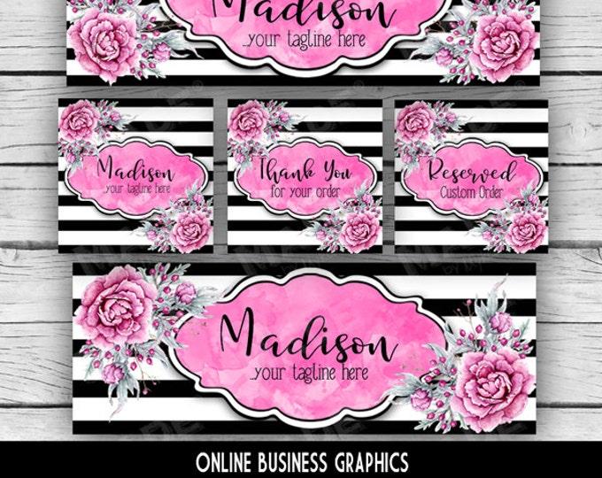 ETSY & SOCIAL MEDIA Set - Madison Design - Pink Black Peony Floral, Watercolor Etsy Set, Etsy Banner Set, Digital, Business