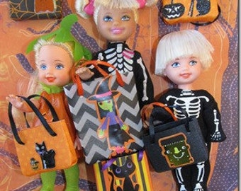 Barbie Miniature Halloween Trick or Treat Bags for Kelly, Tommy, Chelsea Set of 6 - NO DOLLS
