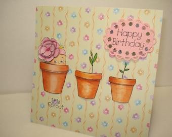 babies birthday card /ooak 3D card