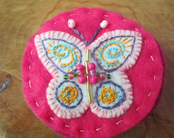 Pink Butterfly Embroidered Pin/Clip appropriate for Chemo Wear