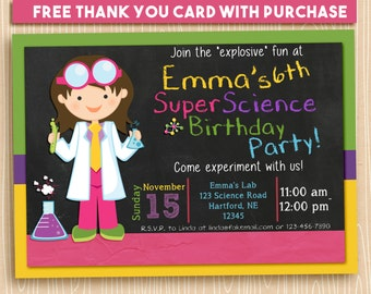 Printable Science Party Invitation. Girl Scientist. FREE THANK YOU Card!