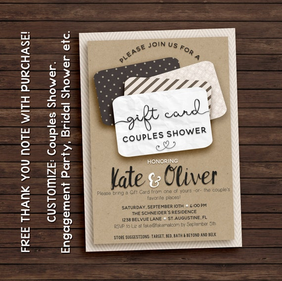 Gift Card Shower Invitation