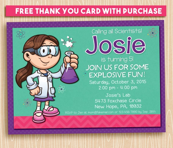 Girl science party invitation / science printable