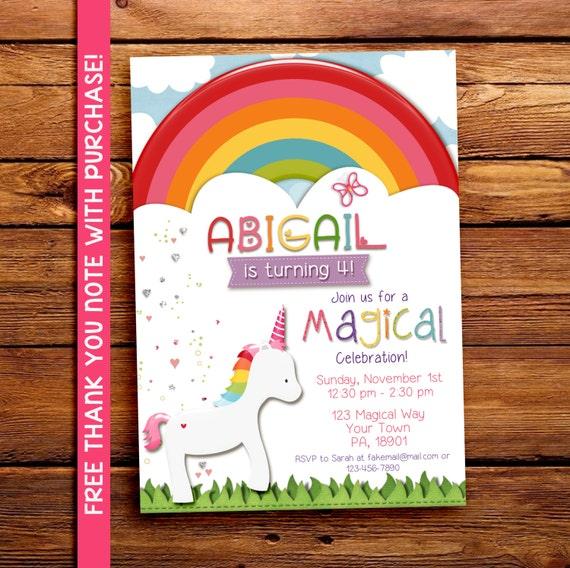 Magical Rainbow Unicorn Party Invitation, Printable, Birthday,  5x7. FREE THANK YOU Card!