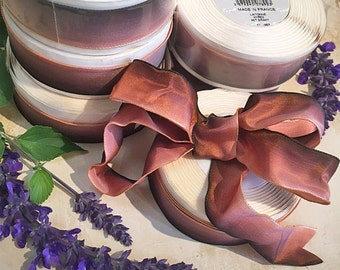 """Vintage French Copper Ombre Laitonne Wired Ribbon 1"""" Made in France by Vaban 15 yd Roll"""