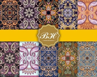 India digital paper, vintage oriental digital paper, oriental background, Indian floral papers, scrapbooking, oriental patterns