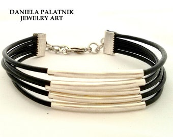 Black Leather Bracelet, Stranded Bracelet, Women Bracelet, Multi Strand Bracelet, Silver Tube Beads, Cylinder Beads Bracelet, Charm bracelet
