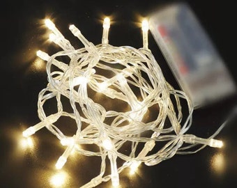 5 metre battery fairy lights - multi function / white - party lights - wedding lights - Christmas lights ~  wedding decor