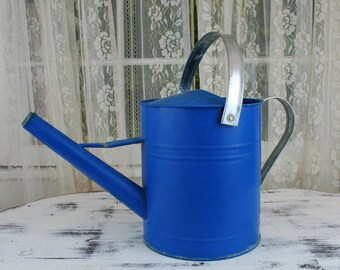 Vintage Blue & Silver Galvanized Metal Watering Can