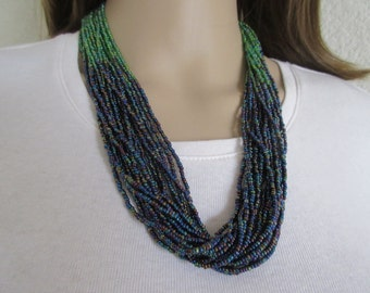 Blue & Green Seed Bead Necklace