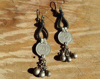 handmade macrame gypsy earrings with old indian coins and bells and sterling silver hook