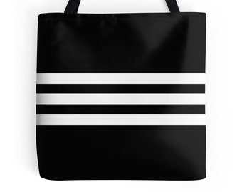 Black White Bag, Black White Tote, Black White Purse, Black White Accessories, White Black Stripe Bag, Black Tote Bag, White Black Bag