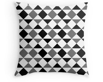 Gray Pillow, Geometric Gray Pillow, Gray Black White, Gray Decorative Pillow, Gray Toss Pillow, Geometric Pillow, Black Gray Pillow