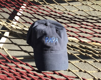 Papa - Navy Blue Hat With Blue Letters