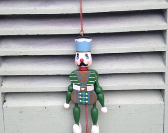 Vintage French Christmas wooden toy soldier