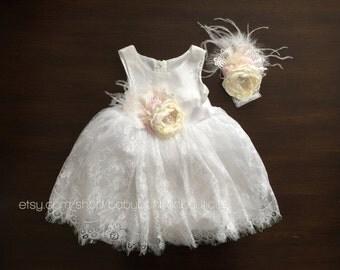 white baptism dress, baby baptism dress, baby girl dress, baptism lace dress, baby white dress, white flower girl dress