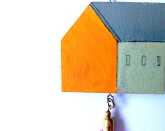 Wooden house pendant , Hand painted , wearable art , wearable art necklace , illustrated jewelry