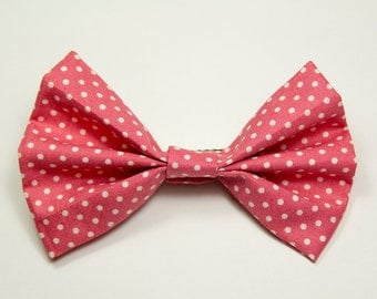 Pink And White Polka Dot Girls Hair Bow