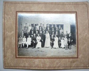 1920s Wedding Photograph French country village wedding vintage photo black and white photo