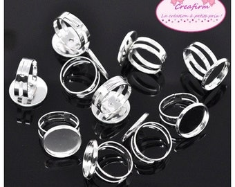 20 media rings silver tray Cabochon 16mm