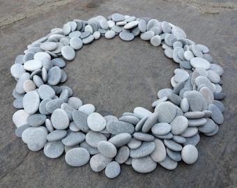 300 Craft Pebbles, Bulk Flat Pebbles, Beach Pebbles, Beach Stones, Flat Stones, Grey Pebbles,  Small Stones, Stone Buttons, Smooth Pebbles