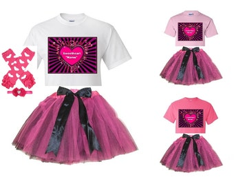 Valentine Sweetheart Heart White or Pink T-Shirt and Pink/Black Tutu Set with FREE Personalization