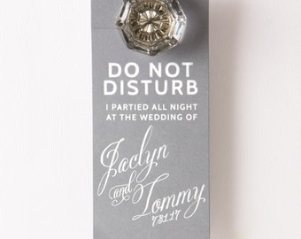 DO NOT DISTURB I Partied All Night... Door Hanger - Wedding Favor, Wedding Door Hanger, Custom Favor, Wedding Welcome Bag Favor, Door Tag