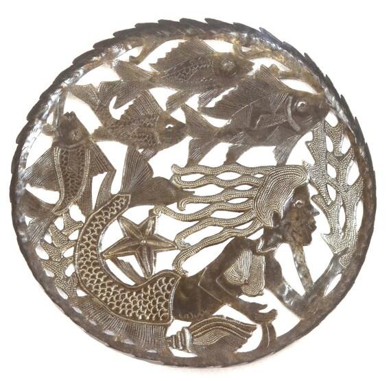 "Large Mermaid Sea Bowl, Decorative Functional Art   16.5"" x 16.5"""
