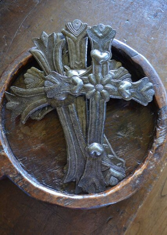 """Floral Cross, Handmade from Recycled Steel Haiti, 8"""" x 12"""""""