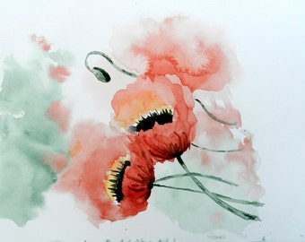 Original 9x12 Watercolor Painting - Two Poppies