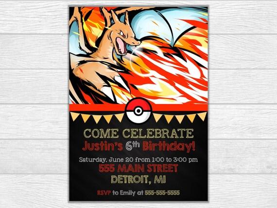 Pokemon invitation pokemon birthday pokemon invite birthday printable invitation digital download charizard invitation charizard invite