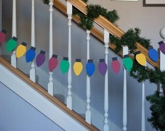 Christmas Lights garland, color lights banner