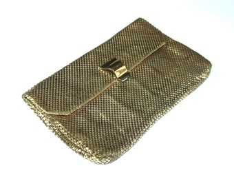 Vintage 1960's WHITING & DAVIS purse / bag gold tone / metal mesh chain mail / clutch 50s