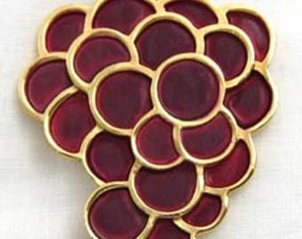 Vintage Trifari Enamel Grapes Pin / Brooch
